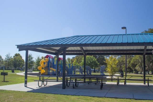 Image of a picnic shelter in a park.