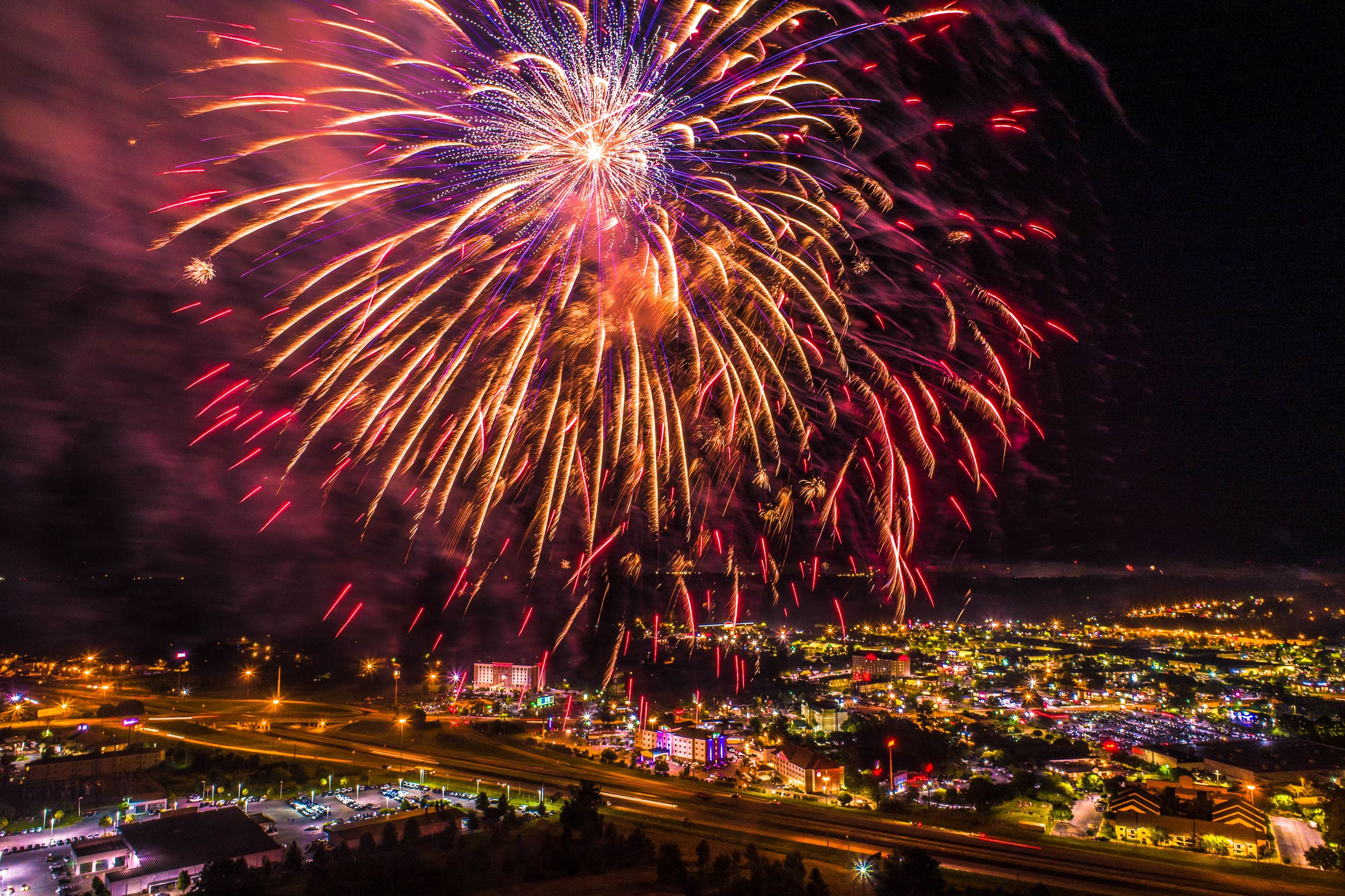 Aerial image of fireworks display.