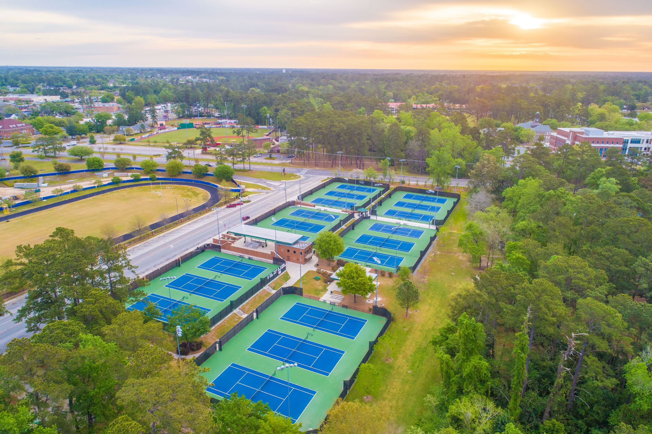 Aerial image of tennis courts.